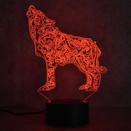 Whistling Wolf Animal Figure Flash Model 3d Illusion Led Nightlight Luminous Colorful Changing Light Desk Lamp Model Toys Toys & Hobbies