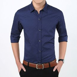 camisa azul lunares blancos al por mayor-Autumn Fashion Brand Men Clothes Slim Fit Men Long Sleeve Shirt Mens Polka Dot Casual Men Shirt Social Asian Size Plus Size M xl