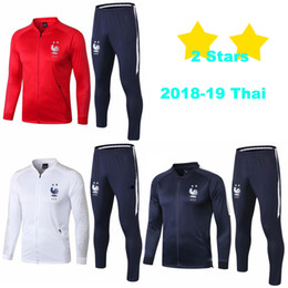 Discount soccer outfits - Zipper Tracksuit French 2018 19 Soccer Tracksuit Football Jacket Training Suit Adult Football Outfits Zip Jackets Pants