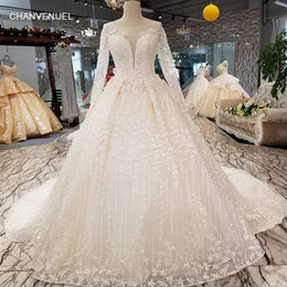 LS3560 lace wedding dresses A-line lace up see-though keyhole back simple bride  dress cheap 2018 tulle long sleeve o-neck 9a7e1c7a67dc