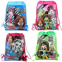 $enCountryForm.capitalKeyWord UK - 12pcs monster high Non-Woven Fabric Drawstring Backpack Loot Bag Gift Bag Kid Boy Birthday Theme Party supplies Decoration