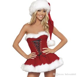 santa costume lingerie 2019 - Women's Christmas Lingerie Holiday Costume Corset Skirt Santa Dress