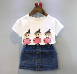 Korean Baby Flowers Canada - Korean Summer 2018 baby girls clothes Dress Suits white letter T shirt Flower tutu skirt 2pcs sets floral children clothing Outfits