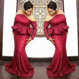 $enCountryForm.capitalKeyWord Australia - Plus Size South African Prom Dresses 2018 Dark Red Sequined Long Sleeves Evening Gowns Sheer Neck Peplum Mermaid Black Girls Party Dress