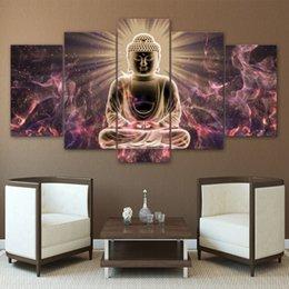 Современные стены искусства модульный плакат рамки 5 шт. / шт. свет Будды холст картины HD печатных фотографии домашнего декора гостиной