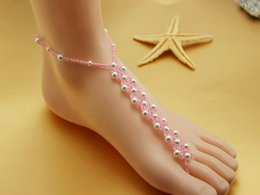 Pearl Bridal Barefoot Sandal Canada - NEW HANDMADE beach wedding barefoot sandals,Elastic bridal foot jewelry VARIOUS COLORS gift packing20prs lot free shipping