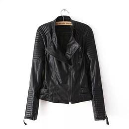 strip women top 2019 - 2018 Top S-L New Spring Autumn Adjustable Waist Zippers Draped Cross Fashion Women Black Slim Leather Jacket cheap strip