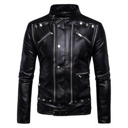 Luxury Motorcycle Jackets Australia - Luxury Leather Jackets Men Multi Zippers Rivets Punk Leather Motorcycle Jackets Mandarin Collar 2018 Fashion Clothing