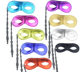 Men Mask Stick Australia - 100 pcs New men and women's masquerade ball masks on sticks Party favor Dress up 10 colors available