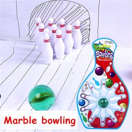 mini bowling balls 2019 - 500set Mini marble bowling Creative children's sports and leisure marble bowling set decompression gift toy DHL fre