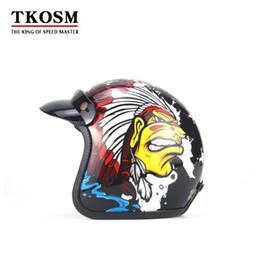 Dot Half Helmets Face Australia - TKOSM 3 4 Harley Helmets Motorcycle open face vintage motorcycle helmet Retro Cruiser Chopper Open Face Moto DOT Approval