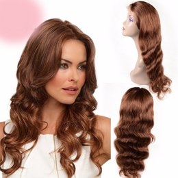 raw hair sale NZ - On sale 100% unprocessed raw virgin remy human hair long #33 body wave full lace cap wig for women