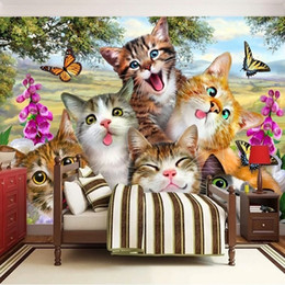 cat portraits NZ - Custom Any Size 3D Photo Wallpaper Cute Cartoon Cat Self portrait Children's Room Bedroom Living Room Background Mural Wallpaper