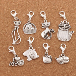 30pcs Cat Charms  Silver tone lovely cats pussy Charms Pendant 25x9mm