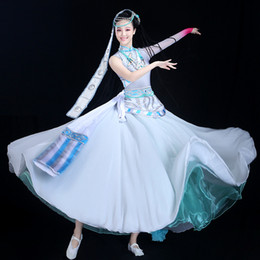 Big Swing Skirt Chinese Folk Dance Costume Performance Blue Single Long-sleeved Rhinestone Neon Dance Clothes Hmong  Saree