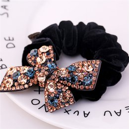Wholesale Butterfly Elastic Hair Bands High Quality Fashion Hair Ties for Women and Girls Rhinestone Rope Pony Accessories