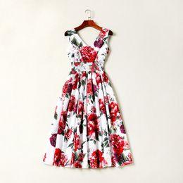 c1425657ada 2018 Ladies Luxury Peony Floral Print V Neck A Line Madi Dresses Women  Sleeveless Fashion Runway Dresses 180629