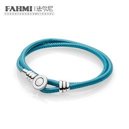 Discount religious fabric - FAHMI 100% 925 Sterling Silver Genuine Glamour Blue Fabric Couple Hand Strap Fashion Original Women Bracelet 597194CTQ-D