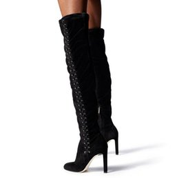 670f5684b9ad Discount long lace thigh boots - Linamong 2018 New Winter Brand Women Solid  Black Lace Up