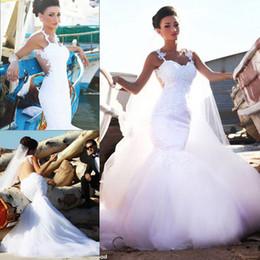 01d3341ab4f Luxus Mode Brautkleider Romantische Meerjungfrau Spitze Tüll Lange Mit  Abnehmbarem Zug Traum Prinzessin Braut Party Kleider