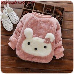Cartoon Rabbit Hoodies Australia - Winter Baby Girls Long Sleeve O Neck Cartoon Rabbit Thick Fleece Casual Hoodies Kids Pullover Sweatshirt Outerwear