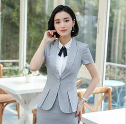 12f0b9f8405c0 Plus Size Women Business Suits Australia - Women Business Short Sleeve  Blazer Suits With Skirt Summer