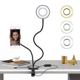 Özçekim Halka Işık + Cep Telefonu Tutucu Canlı Akışı için Standı Makyaj LED Kamera Işık Esnek Arms ile Android iPhone için 8 7 6 X