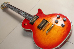 Custom guitar Cherry burst online shopping - New Arrival Custom Shop Electric Guitar With Flower Of Life Abalone Inlay In Cherry Burst