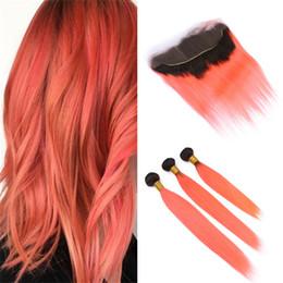 $enCountryForm.capitalKeyWord Australia - Ombre Brazilian Orange Human Hair Bundles with Lace Frontal Closure Silky Straight Dark Roots Light Orange Ombre Virgin Hair and Frontal