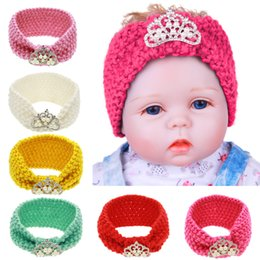 Wholesale Baby knit Crochet Crown Headband Princess Knit Hairbands Colors Winter Newborn Infant Ear Warmer Head Headwrap