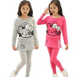 9c6dc9c67 Hello Kitty Winter Set NZ - Hello Kitty Girls Clothing set Long Sleeve T  Shirt Skirt