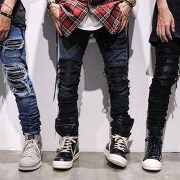 Venta al por mayor de Moda flaco pantalones de moda de hip hop ripped cool mens ropa urbana jumpsuit jeans de los hombres envío gratis