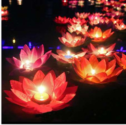 Flameless Candles Free Shipping Australia - 10pcs Romantic lotus lamps,wishing water floating candle light,birthday wedding party decoration,Free shipping.
