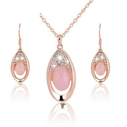Chinese  Pink Oval Stone Gold Plated Necklace Earrings Set for Women Girls Costume Party Jewelry manufacturers