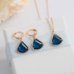 2018 Light Blue Gemstones Fashion Simple Design 2pcs Lot Wholesaley Jewelry  Triangle Gemstone 925 Sterling Silver