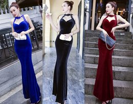 wholesale sexy mermaid maxi dress Australia - 2018 Summer Halter Fish Tail Evening Dress Women Party Dinner Dress Wedding Dress Sexy Presided Annual Banquet Night Wear A0005