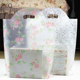 boutique paper gifts bags 2019 - 150pcs Plastic gift packaging bag with handle Clothes plastic shopping bag wedding party gift bags for jewelry Boutique