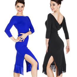 Latin Salsa Dance Dresses Canada - Latin Dance Dress Women CHEAP Fringed Dress Latina Tango Salsa D0496 Split Tassels Hem 5 Colors Choices