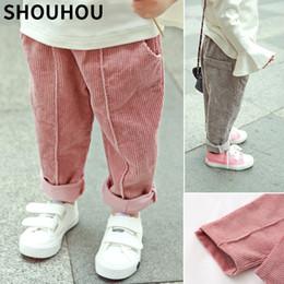 SHOUHOU 2018 Niños Pantalones de pana Niños Niñas Pantalones largos de algodón Primavera Otoño Pantalones casuales Niñas Ropa para niños en venta