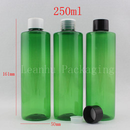 Wholesale Plastic Green Bottle Caps NZ - wholesale 250ml X 20 green round plastic containers bottles with screw cap 250cc liquid soap PET bottle,shampoo cosmetic jar