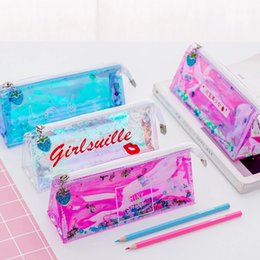 Desk Accessories & Organizer Hand Gesture Lip Sequin Liquid Pen Pencil Case Student Zipper Bag Pouch Gift Pvc Big Clearance Sale