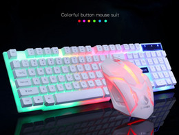 3691b3fa49f Wire illuminated online shopping - Ergonomic keyboard mouse gaming set  rainbow wired PC Gamer suspension Mechanical