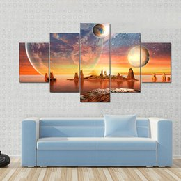 $enCountryForm.capitalKeyWord NZ - Painting Frame Artwork Poster Wall Modular Picture Home Decoration 5 Panel Planet Landscape Modern Print On Canvas For Living Room