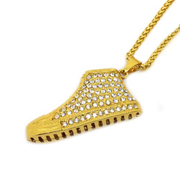 sneaker jewelry 2021 - LASPERAL Stainless Steel Sneaker Pendant Necklaces With Shien Rhinestone Hiphop Style Necklace Jewelry For Women Men Gol