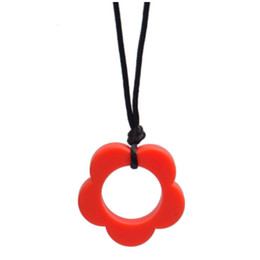 China Silicone Flower Teether Sunflower Pendant 44MM Baby Teething Necklace Food Grade Silicone Beads Sensory Bead Baby Teethers cheap silicone bead necklace wholesale suppliers