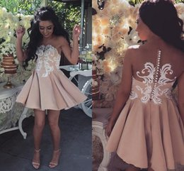 Vintage club coVer online shopping - 2019 New Nude Cheap Short Mini A Line Homecoming Dresses Jewel Neck Illusion White Lace Appliques Button Back Cocktail Dress Party Prom Gown