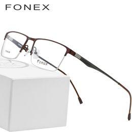 e5dfa9b5ed7 Titanium Glasses Frame Men Square Myopia Prescription Eyeglasses 2018 Male  Metal Semi Rimless Optical Frames Screwless Eyewear