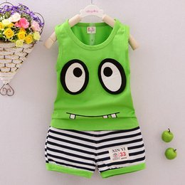 Baby Boy Vest Outfits Canada - Outfits ClothesToddler Monster Clothes Children Girls Tracksuits Infant Baby Clothing Sets Boys Vest And Striped Pant 2pcs Suits