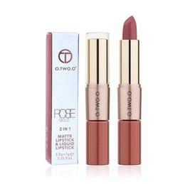 China O.TWO.O 2 in 1 Matte Lipstick Makeup Cosmetics Waterproof Long-Lasting Lip Gloss Pintalabios Batom Mate 12Color choose cheap lipstick chose suppliers