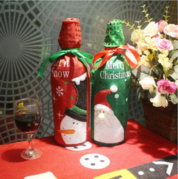 Dinner Table Cloth Australia - Christmas Decorations Santa Claus Wine Bottle Bags Snowman Gifts Champagne Sequins Holders Xmas Home Dinner Party Table Decors